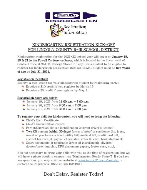 Kindergarten Registration 2019-2020 school year